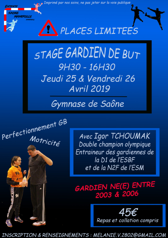 STAGE VAC'HAND PAQUES 2019 GARDIENS DE BUT