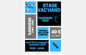Stage Vac'Hand Toussaint 2019 GB